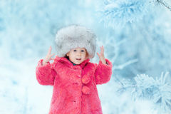 Girl looks at a snowy branch. Little girl looks at a snowy branch stock image