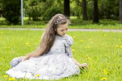 Girl looks sweet in the princess dress Stock Photos