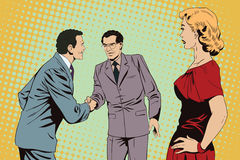 Girl looks at Two business man shaking hands. Stock illustration Royalty Free Stock Image