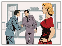 Girl looks at Two business man shaking hands. Stock illustration Stock Photos