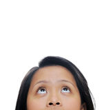 Girl looks up Royalty Free Stock Images