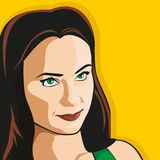 The girl looks up. Cute girl on a yellow background. Vector Royalty Free Stock Image