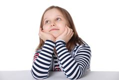 The girl looks upwards Stock Photo