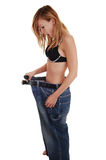 Girl lost lots weight. Royalty Free Stock Photography