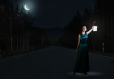 Girl lost in night Royalty Free Stock Photography