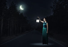 Girl lost in night Royalty Free Stock Images