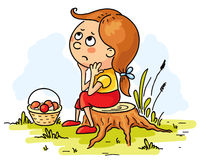 Girl lost in the woods. Little girl lost in the woods vector illustration