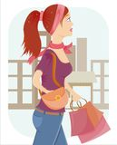 girl with a lot of bags Stock Photo