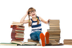 Girl with lot of books Royalty Free Stock Photography