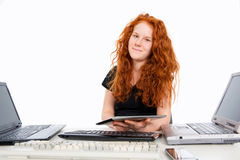 Girl with a lot of computer Royalty Free Stock Images