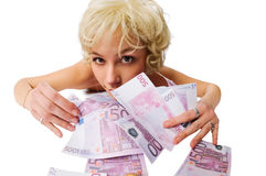 Girl with lots of money Royalty Free Stock Photography