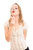 Girl  with lots of soap bubbles Royalty Free Stock Photos