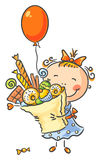 Girl with lots of sweets has birthday Royalty Free Stock Photo