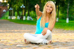Girl in lotus pose Royalty Free Stock Photo