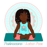 Girl in Lotus Pose with mandala background. African girl in Lotus Pose with mandala background. Hand draw Illustration for Yoga kids. girl in Ustrasana. Cute Royalty Free Stock Photos