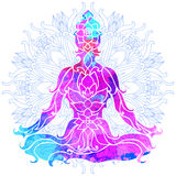 Girl in lotus pose over ornate round mandala pattern. Yoga concept. Stock Photography