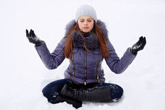 Girl in lotus pose Stock Photography
