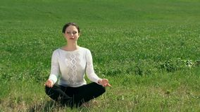Girl In The Lotus Position stock video footage
