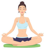 Girl in lotus position Stock Photos