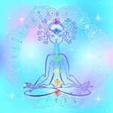 Girl in the Lotus position and chakras of man. Reiki energy. Vector royalty free illustration