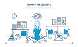 Girl in the lotus position, relaxing in peace and quiet. Royalty Free Stock Photos