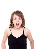 Girl loudly shouts. Royalty Free Stock Images