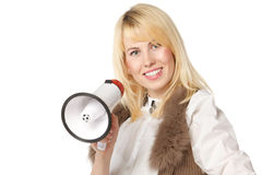 Girl with loudspeaker Stock Photography
