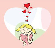 Girl in love. Cute  girl on valentine's day Royalty Free Stock Photography