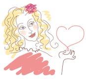 Girl in Love. Sketch of a girl that keeps the heart vlondinki vector illustration