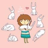 Girl Love Bunny Vector Illustration Royalty Free Stock Photography