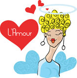 Girl in Love card doodley royalty free stock photo