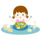 Girl love eating fresh vegetable  illustration Royalty Free Stock Photos