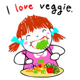 Girl love eating vegetable  illustration Stock Images