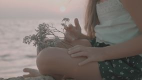 Girl in love enjoying tender moments at sunset during holiday with best friends. Emotional concept of happy exclusive stock video