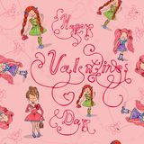 Girl in love with heart from doodle seamless. Stock Images