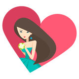 Girl love heart. Vector Concept File of Silhouette Girl Make a Wish Royalty Free Stock Image
