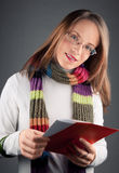 Girl with love letter stock image