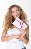 Girl with love letters Royalty Free Stock Photos