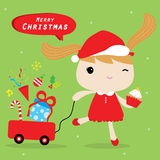 Girl Love Merry Christmas Cute Cartoon Vector Stock Photo