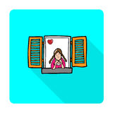 Girl in love at window Royalty Free Stock Photo