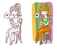 Girl in love is writing sms Royalty Free Stock Photo
