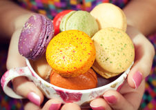 Girl Loves Colorful Macaroons Stock Photo