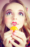 Girl Loves Colorful Macaroons Stock Images
