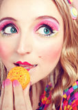 Girl Loves Colorful Macaroons Royalty Free Stock Photo