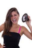 Girl loves loud music. Girl loves and enjoys in loud music Stock Photo