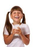 Girl loves milk Stock Photography