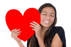 Girl loving a heart Royalty Free Stock Images