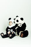 Girl loving panda. Child wearing a panda costume holding a little baby panda Stock Photos