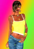 Girl in low rise jeans. A yellow halter top and low rise jeans show off this girl's sexy abs and fit body. A gradient background sets the scene for this chic Royalty Free Stock Photography