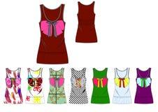 Girl low scoop neckline bow vest print design template Stock Photo